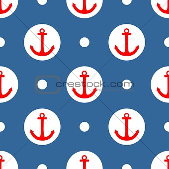 Tile sailor vector pattern with red anchor and white polka dots on navy blue background