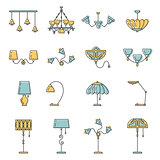 Line lamp icon set, flat design