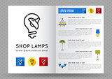 Brochure for shop lamps, lamp icon