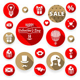 Icons set flat valentines, love symbols