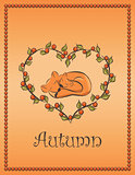 autumn card with fox. vector