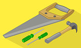 Tools isometric flat vector 3d illustration.