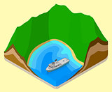 lagoon isometric. coastline vector. relief
