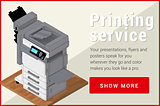 Copier printer isometric flat vector 3d .