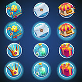 button set of icons for web video games