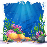 Underwater world with coral reef - vector illustration