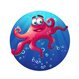 Underwater cartoon comic octopus in ocean