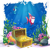 Underwater world with fish and gold chest