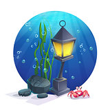Underwater lamp with stones, seaweed, crab, bubbles