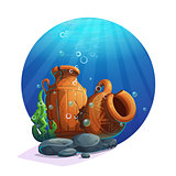 Underwater ancient amphorae with stones, seaweed, bubbles