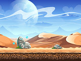 Seamless desert with stones and spaceships