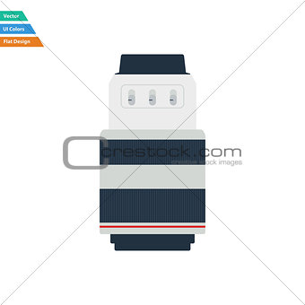 Flat design icon of photo camera zoom lens in ui colors