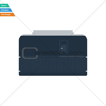 Flat design icon of photo camera 50 mm lens in ui colors