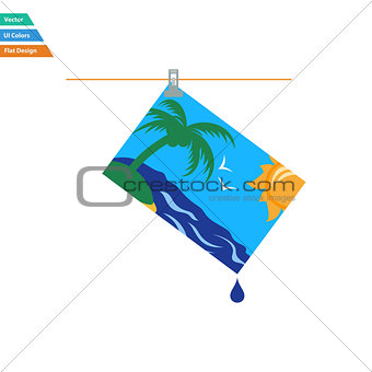 Flat design icon of photograph drying on rope