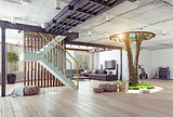 Real living tree indoor concept