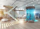 The loft interior with aquarium