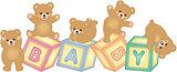 Baby blocks with teddy bear