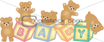 Baby blocks with teddy bear