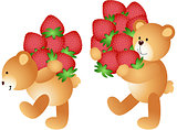 Strawberries being carried by teddy bears