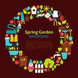Flat Circle Collection of Spring Garden Objects
