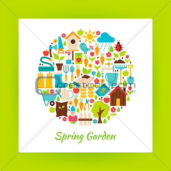 Flat Circle Spring Garden Objects over white Paper