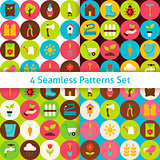 Four Flat Spring Garden Seamless Patterns Set with Circles