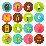 Gardening Tools Circle Icons Set with long Shadow