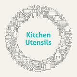 Kitchen Utensils Line Art Icons Set Circle