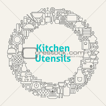 Kitchen Utensils Line Art Icons Set Circle