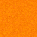 Orange Thin Line Kitchen Utensil and Cooking Seamless Pattern