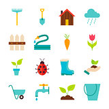 Spring Garden Flat Objects Set isolated over White