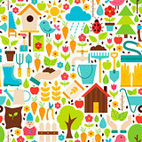 Spring Garden Vector Flat Design White Seamless Pattern