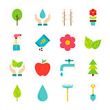 Spring Gardening Flat Objects Set isolated over White