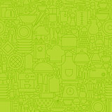 Thin Green Kitchen Appliances and Cooking Line Seamless Pattern