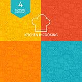 Thin Line Art Kitchen Utensils and Cooking Pattern Set