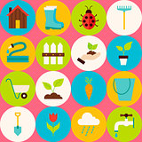Vector Pink Flat Gardening Tools Seamless Pattern with Circles