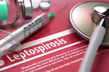 Leptospirosis. Medical Concept on Red Background.