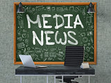 Media News on Chalkboard with Doodle Icons.