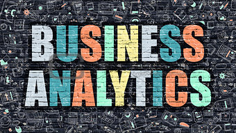 Business Analytics in Multicolor. Doodle Design.
