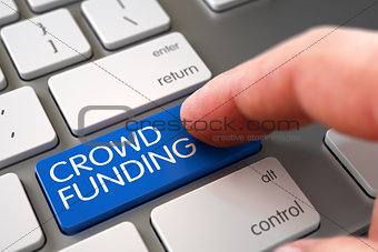 Crowd Funding on Keyboard Key Concept.