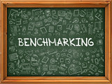 Benchmarking - Hand Drawn on Green Chalkboard.