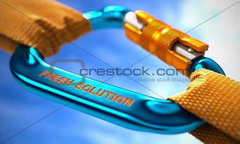 Blue Carabiner with Text Fresh Solution.