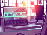 Laptop Screen with Market Research Concept.