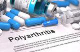 Diagnosis - Polyarthritis. Medical Concept. 3D Render.