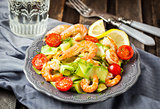 Prawns, zuchini noodles and tomato