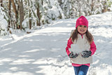 Portrait of a little girl  in winter