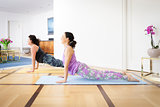 yoga at home upwards looking dog pose