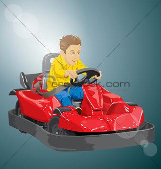 Boy driving go kart