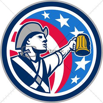 American Patriot Craft Beer Mug USA Flag Circle Retro