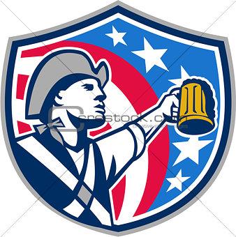 American Patriot Craft Beer Mug USA Flag Crest Retro
